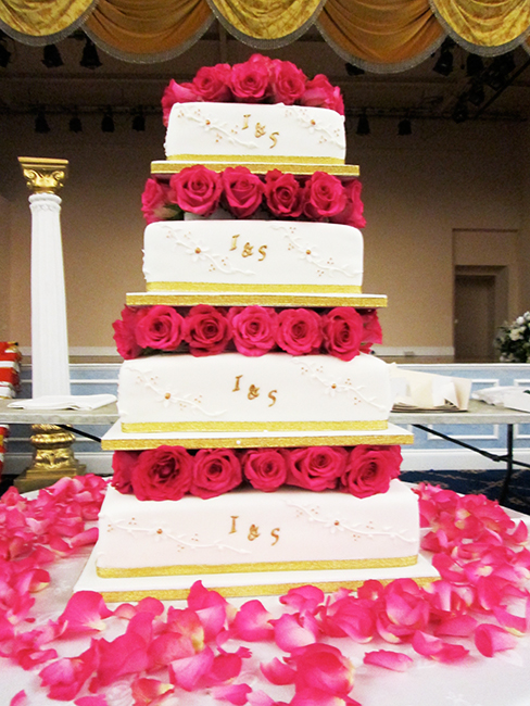 4 Tier Angie £410.00 with fresh roses