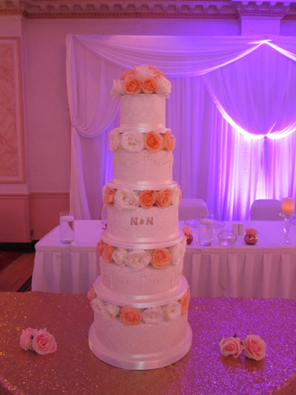 5 tier with lace & fresh roses